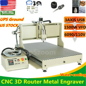 Usb 3axis 1 5kw Cnc 6090 Router Engraver Woodworking Advertising Mill Machine Ce
