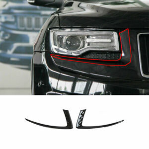 Front Headlight Lamp Eyebrow Trim For Jeep Grand Cherokee 2014 16 Carbon Fiber M
