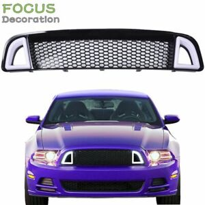 Fit For 2013 2014 Ford Mustang Non shelby Front Bumper Upper W White Led Grille