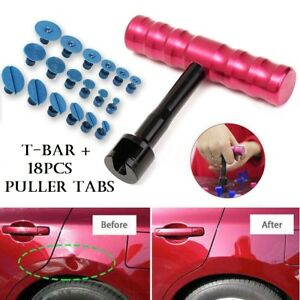 Small Auto Body Paintless Dent Puller Tabs T Bar Suction Tools Removal Kit
