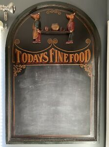 Today s Fine Food Wood Cafe Menu Board 3d Pigs Chalk Board Restaurant 36 Sign