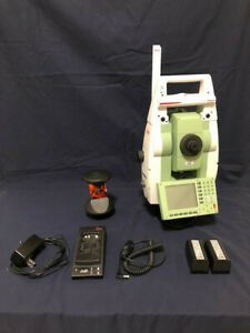 Leica Tcrp 1203 R300 3 Robotic Total Station With Rh17 Handle And Leica Prism