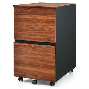 Costway 2 Drawer Mobile File Cabinet Rolling Filing Cabinet Fits Letter a4 Size