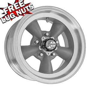 14 Inch 14x6 American Racing Torq Thrust D Gray Wheels Rims 5x4 75 5x120 65 2