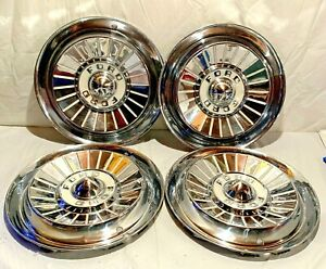 Vintage 1950s Ford Hubcaps Fairlane Thunderbird Dog Dish Wheel Cover Hub Caps 4