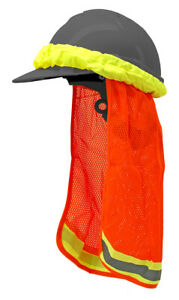 Orange Construction Safety Hard Hat Neck Shield Cover Protective Sun Shade Cool