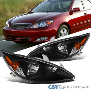 For 02 04 Toyota Camry Matte Black Headlights Front Head Lamps Left Right Pair