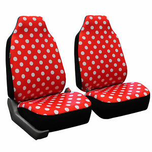 Fh Group Red Solid Polka Dots Flat Cloth Car Seat Covers Front Set