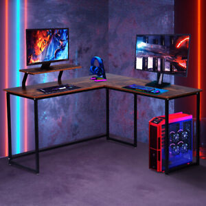 Industrial Computer Gaming Desk L shape h shape Pc Laptop Table Home Office Work