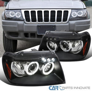 For 99 04 Jeep Grand Cherokee Black Halo Projector Headlights Lamps Left right