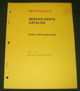 Sperry New Holland Model 848 Round Baler Parts Manual Book Catalog