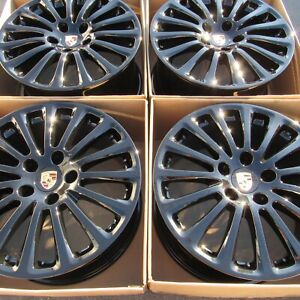 Porsche Panamera Turbo Oem Factory 19 Wheels Rims Gloss Black 5x130