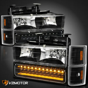 Fits Black 94 98 Chevy Silverado C10 Tahoe Suburban Headlights Led Bumper Corner