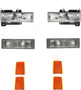 Headlights For Chevy Truck 1990 1991 1992 1993 With Signals Lights Reflectors