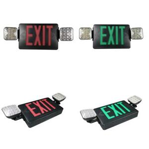 Combo 14 watt With Nicad 9 6 volt Battery Integrated Led Black Exit Sign And Eme