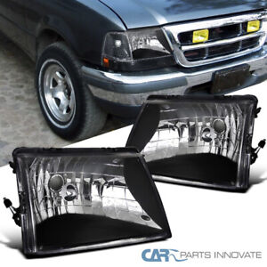 For 98 00 Ford Ranger Pickup Euro Style Black Headlights Head Lights Lamps Pair