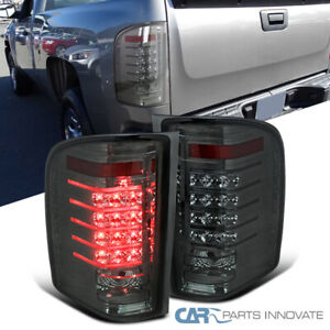 For 07 14 Chevy Silverado 1500 2500 3500 Pickup Smoke Led Tail Lights Rear Lamps