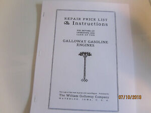 William Galloway Co 2 1 2hp 15hp Gas Engine Instruction And Parts Manual