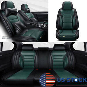 Dark Green Car Seat Covers Front Rear Full Surrounded Set For 5 Seats Car Suv