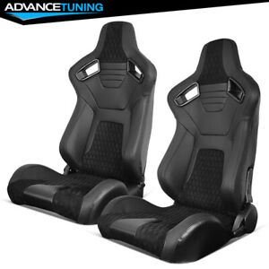 Reclinable Pair Racing Seats Dual Sliders Pu carbon Leather Suede