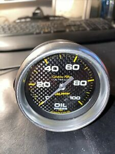 Autometer Ultra lite 2 5 8 Mechanical 100 Psi Oil Pressure Gauge Carbon Fiber