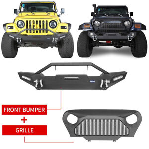 Abs Mesh Grill Steel Front Bumper W Led Lights For 1997 2006 Jeep Wrangler Tj
