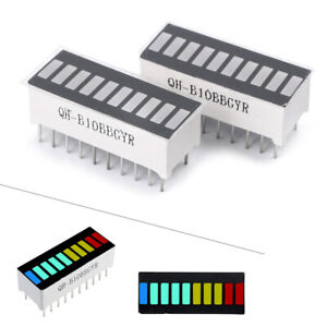 10 Segment Led Bargraph Light Display Red Yellow Green Blue 2pcs Bar Graph