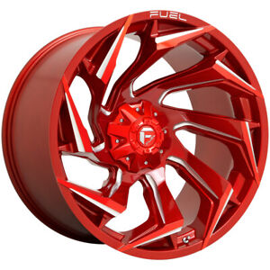 4 fuel D754 Reaction 20x10 8x180 18mm Red milled Wheels Rims 20 Inch