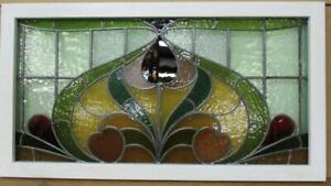 Old English Leaded Stained Glass Window Transom Gorgeous Floral 36 5 X 20 75