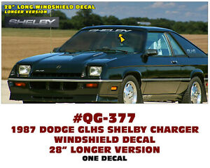 Sp Qg 377 1987 Dodge Shelby Charger Windshield Decal 28 Long Licensed