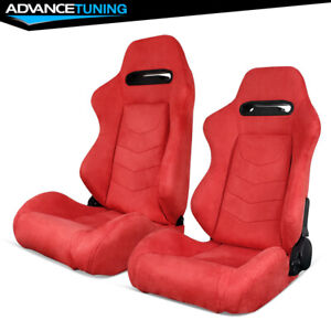 Reclinable Pair Racing Seats Dual Sliders Red Suede