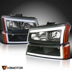 For Black 2003 2007 Chevy Silverado Avalanche Led Tube Headlights bumper Lights