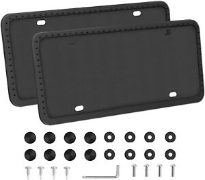 2x Black Silicone License Plate Frame Universal Auto Accessory Frame Rust proof
