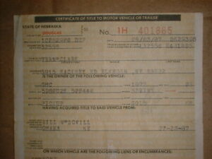 Gmc Truck Sprint 1972 Vintage Historical Document Neb Auto Title V8