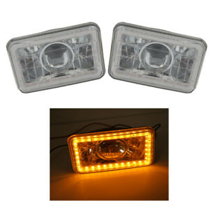 Universal 4x6 Headlight Square Glass Lens Yellow Smd Halo Drl Projector Headlamp