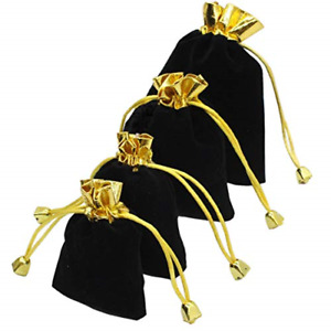 12pcs Black Velvet Drawstring Pouches Jewelry Gift Bags For Christmas Birthday X