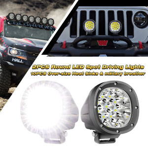Pair 4 inch Round Led Work Lights Combo Off Road Tractor 4wd 6000k Driving Lamps
