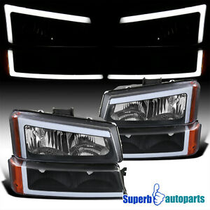 For 2003 2007 Silverado 1500 2500 3500 02 06 Avalanche Black Headlights Led Bar