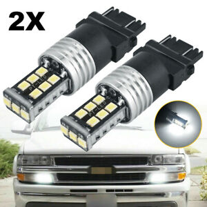 2x 3157 3156 White 15 Smd Led Bulbs Daytime Running Lights Drl For Chevrolet