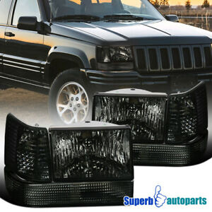 For 93 96 Jeep Grand Cherokee Head Lights bumper Lamps corner Lights 6pc Smoke
