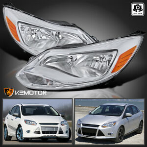 For 2012 2014 Ford Focus S Se Clear Headlights Head Lamps Left Right Pair 12 14