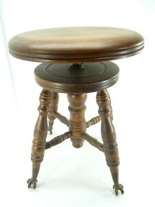 Chas Parker Co Adjustable Piano Stool Glass Ball Claw Foot Antique C1800s 1900s
