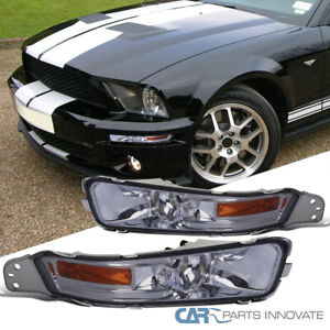 For 05 09 Ford Mustang Gt Smoke Front Bumper Lights Turn Signal Lamps Left right