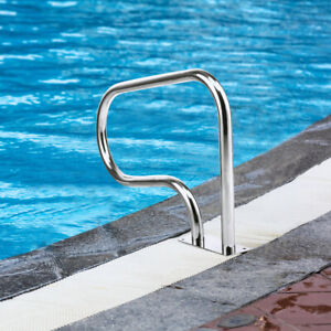 Swimming Pool Hand Rail Stainless Steel Ladder Outdoor Stair Rail W Base Plate