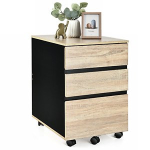 3 drawer File Cabinet On Wheels Rolling Mobile Wooden Filing Storage Home Office
