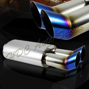 3 Dtm Dual Titanium Burnt Tip Stainless T304 Weld On Exhaust Muffler 2 5 Inlet