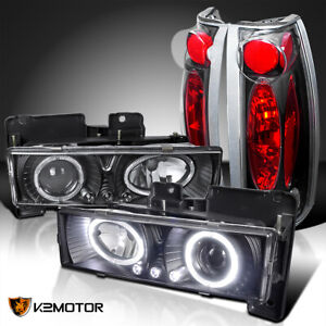 For 88 98 Chevy C k Pickup Black Led Haloprojector Headlights black Tail Lamps