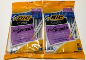 Lot Of 2 Bic Cristal Xtra Smooth Medium Ball Point Pens Blue Ink Total 20 Pens