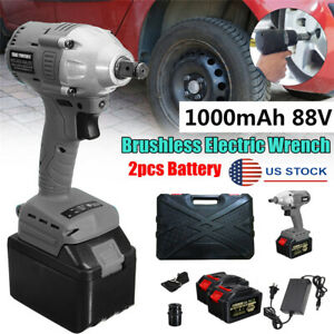 220v Electric Cordless Impact Wrench Brushless Motor W 2x Battery Universal Usa
