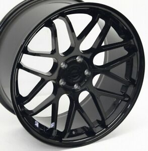 20 Mustang 05 Gloss Black Downforce Dc8 Staggered Wheels 20x8 5 20x10 5x114 3